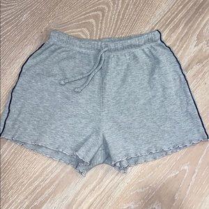 waffle, gray, ruffled brandy melville shorts